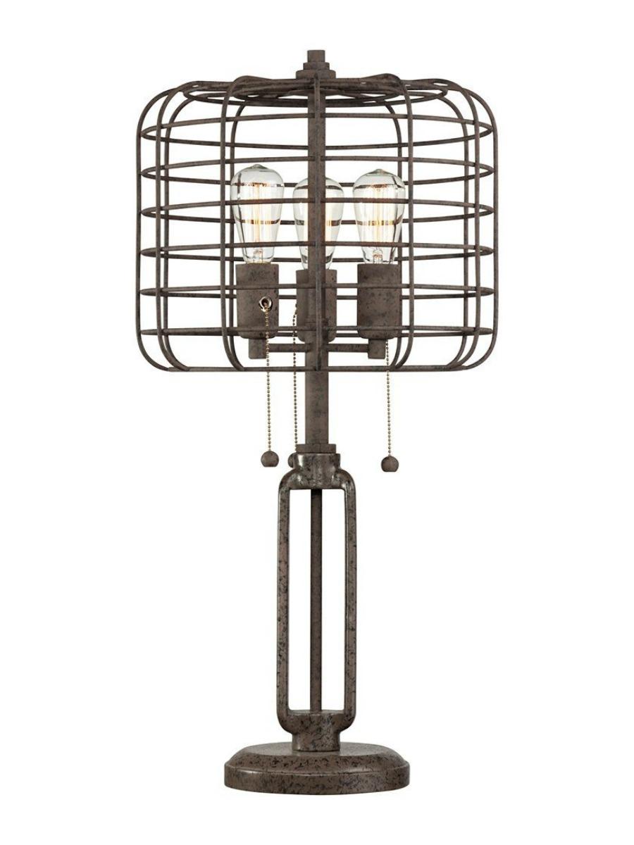 Industrial Cage Edison Bulb Rust Metal Table Lamp – Lia Belle